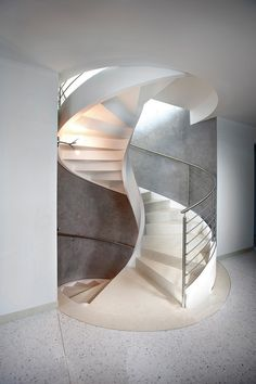Use these awesome spiral staircase in your home. Over thirty spiral staircase ideas you can implement in your design. Feed your design ideas now. Concrete Staircase, Tile Stairs, Flooring For Stairs, Staircase Railings, Spiral Staircases, White Staircase, Bannister, Stairways, Staircase Design Modern