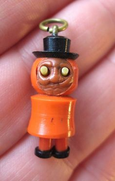 VINTAGE Celluloid Japanese HAT MAN KOBE Charm POP OUT EYES Dangly Legs Move