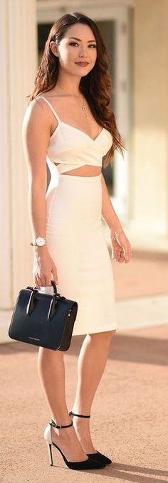 With A White Haute Bodycon Dress, Black Handbag And Black And White Ankle Strap Heels | Jessica Ricks #anklestrapsheelswithdress