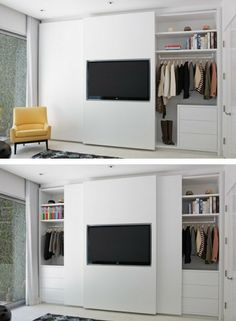 Tv hanging on door (not sure how this would function.... on master closet with sliding doors