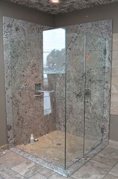 The Granite Gurus: Slab Sunday: Bianco Antico granite Stone Shower, Stone Bathroom, Shower Tub, Master Bathroom, Shower Walls, Bathroom Marble, Mirror Bathroom, Bathroom Ideas, Glass Corner Shower