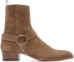 Saint Laurent: Tan Suede Classic Wyatt Boots | SSENSE