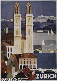 'Zurich, Switzerland metropolis, vintage poster' Poster by AmorOmniaVincit Framed Art Prints, Fine Art Prints, Canvas Prints, Retro Poster, Railway Posters, Old Ads, Vintage Travel Posters, Zurich, Sell Your Art