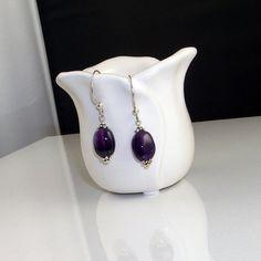 Amethyst Gemstone Drop Earrings by HoneyBeeHouse on Etsy, $15.00