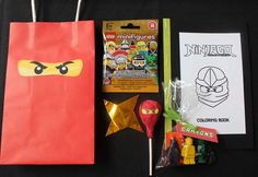 Rocco's Ninjago Birthday Party | CatchMyParty.com party favors with mini figures.