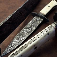 1-OF-KIND CUSTOM MADE DAMASCUS BOWIE KNIFE CAMEL BONE HANDLE | MOSAIC PIN