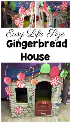 How to make a life size gingerbread house the easy way. This gingerbread house is perfect for dramatic play during a preschool gingerbread theme. Christmas Activities For Kids, Preschool Christmas, Crafts For Kids, Christmas Room, Christmas Themes, Christmas Crafts, Dramatic Play Themes, Dramatic Play Centers, Preschool Art