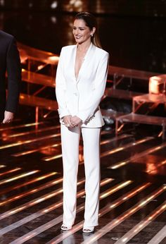 Cheryl Fernandez-Versini in Alida Herbst white suit and St Laurent Peep toe shoes