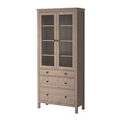 HEMNES Glass-door cabinet with 3 drawers - gray-brown - IKEA  Add baskets- Storage for toys?