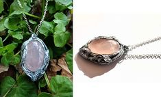 Pink dream - rose quartz pendant, hand-made necklace, nature inspired jewellery, gemstone elven art, leaves