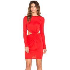 RACHEL ZOE Shay Drape Mini Dress Dresses ($345) ❤ liked on Polyvore featuring dresses, short red cocktail dress, red dress, cut out mini dress, mini dress and zipper back dress