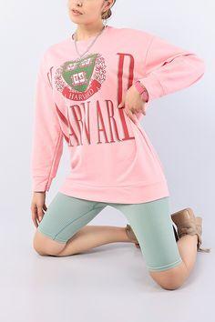 Pembe Baskılı Bayan Sweat Tunik 75647 | ModamızBir | Modamizbir.Com