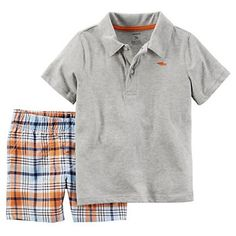 Toddler Boy Carter's Solid Polo & Plaid Shorts Set