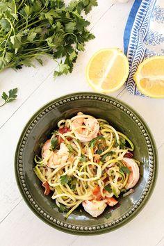 "Easy Bacon Shrimp ""Zucchini Noodle"" Scampi"