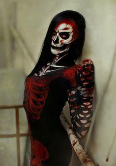 incredible skull makeup... model and make up - Helen Borg