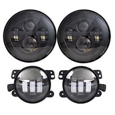 DOT Approved 7'' Black Daymaker LED Headlights + 4 ''Cree LED Fog Lights for Jeep Wrangler 97-2017 JK TJ LJ - https://www.caraccessoriesonlinemarket.com/dot-approved-7-black-daymaker-led-headlights-4-cree-led-fog-lights-for-jeep-wrangler-97-2017-jk-tj-lj/
