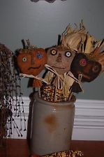 Primitive Grungy Pumpkin Pokes - crock fillers - Halloween