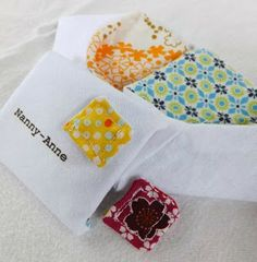 mila + cuatro: Playing Postie: Scraps 101 - fabric envelopes with removable pretty fabric stamps - gorgeous!