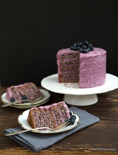 I used a combination of fresh blueberries and freeze dried blueberries to create the very flavorful blueberry cake. The cream cheese frosting works wonderfully with the slightly sweet cake.