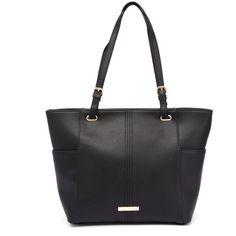 Kardashian Kollection 3560 Black Tote (97 CAD) ❤ liked on Polyvore featuring bags, handbags, tote bags, black purse, zip top tote, kardashian kollection purses, black handbags and pocket tote