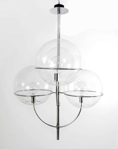 Vico Magistretti; Chromed Metal and Glass 'Lydon' Ceiling Light for O'luce, c1970.