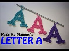 LETTER A Charm (no loom). Designed and loomed by Made By Mommy. Click photo for Youtube tutorial. 03/15/14