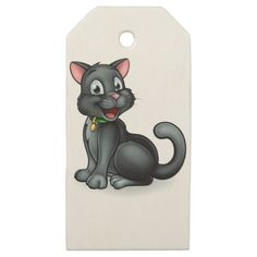 #Black Cat Cartoon Character Wooden Gift Tags - #halloween #party #stuff #allhalloween All Hallows' Eve All Saints' Eve #Kids & #Adaults