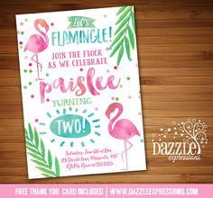 Printable Watercolor Flamingo Birthday Party Invitation | Baby Shower or Bridal Shower | Pool Party | Flamingle | Luau | Tropical | Hawaii | Confetti | Girls Summer Birthday Party | Digital File | Kids Birthday Party Idea or any event | Baby Shower | Bridal Shower | FREE thank you card | Party Package Available | Banner | Cupcake Toppers | Favor Tag | Food and Drink Labels | Signs | Candy Bar Wrapper | www.dazzleexpressions.com