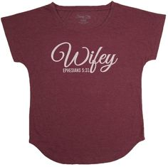 """[""""Wear+this+shirt+to+show+your+pride+in+being+a+wife;+can+also+be+a+fun+unique+gift+for+a+wedding+gift!+This+soft+shirt+is+burgundy,+with+\""""Wifey+-+Ephesians+5:31\""""+in+a+white+font.+<br><br><b>Product+Details:+<\/b><br>Polyester\/Cotton+blend+T-Shirt<br>Burgundy<br>Message:+Wifey+-+Ephesians+5:31""""] $29.99"""