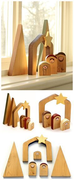 DIY Nativity Set - Make this simple and unique wooden nativity scene. Beautiful for your home and makes a thoughtful and unique gift. Kids can also make these fun nativity scenes. Comes with free template. Nativity Crafts, Christmas Nativity, Noel Christmas, Christmas Projects, All Things Christmas, Holiday Crafts, Christmas Ornaments, Holiday Decor, Wooden Nativity Sets