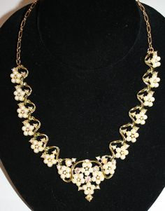 Vintage Necklace AB Rhinestone Pearl Flower Cluster by patwatty, $15.00