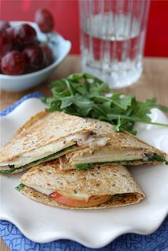 Lunchtime Quesadilla Recipe with Smoked Turkey, Apples, Havarti Cheese & Arugula