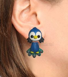 Blue Green  Peacock Clinging Earrings