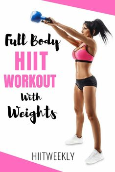 Get your sweat on with this 1000 calorie full body HIIT workout with weights. Nothing burns more calories than a weights HIIT workout. #fullbodyhiit #hiitwithweights Hiit Workouts With Weights, Full Body Hiit Workout, Hiit Workout At Home, At Home Workouts, Workouts Hiit, Body Workouts, Hiit Abs, Cardio Workouts, Extreme Workouts