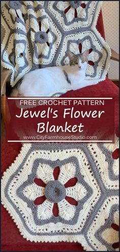Earlier this month I posted Jewel's Flower Motif pattern. The motif came out so well that ideas for other items kept coming to me. Afghan Crochet Patterns, Stitch Patterns, Knitting Patterns, Knit Or Crochet, Free Crochet, Crochet Winter, Granny Square Projects, Yarn Inspiration, Lap Blanket