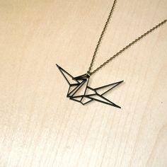 Origami Good Luck Japanese Crane Geometric Necklace