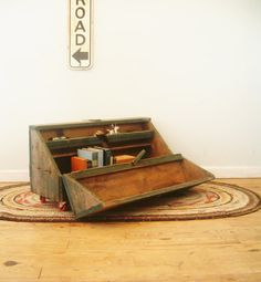 Circa 1930 Industrial Coffee Table Repurposed Carpenters Tool Box With Casters