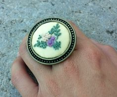 Big fabric ring Unique gifts for mom Cocktail by RedWorkStitches