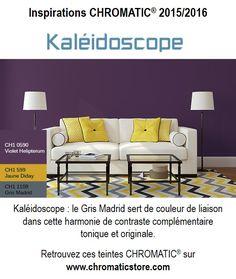 Kaléidoscope : le Gris Madrid sert de couleur de liaison dans cette harmonie de contraste complémentaire tonique et originale. Retrouvez ces teintes CHROMATIC® sur www.chromaticstore.com