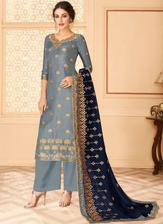 Plazzo Suits, Heavy Dupatta, Embroidery Suits, Pakistani Suits, Indian Outfits, Indian Fashion, Party Wear, Sleeve Styles, Ready To Wear