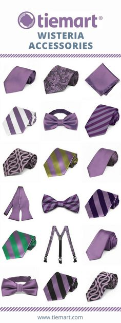 Complete your wisteria wedding with these budget-friendly ties and accessories from Tiemart. Sizes for your entire wedding party, from the groom to the ring bearer.