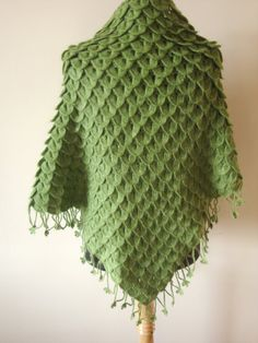 Christmas Gift Handknit Crocodile Green  Mohair by looplabs, $89.00