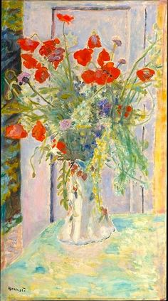 ❀ Blooming Brushwork ❀ garden and still life flower paintings - Bonnard, Poppies in a Vase
