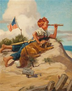 On a seaside bluff. A boy, his dog, American flag, and imagination. (by artist Henry Hintermeister) Vintage Cards, Vintage Postcards, Vintage Images, Art And Illustration, Cover Shoot, Photo Vintage, Artists For Kids, Norman Rockwell, Am Meer