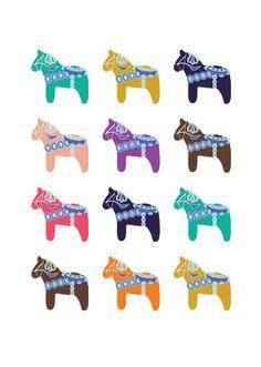 Dala Horse Collection - 5 x 7 Art Print/Wall Art - Baby Nursery Decor, Children's Room Decor and Home Decor