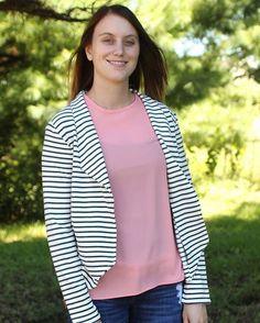 Another garment for Kaitlyn,  a striped Morris Blazer. #moodfabrics #morrisblazer #grainlinestudiogirlsinthegardenmoodfabrics,morrisblazer,grainlinestudio
