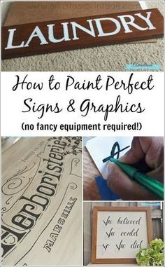 How to Paint Perfect Signs & Graphics My technique for painting perfect signs and graphics no special equipment required! A tutorial by Anastasia Vintage The post How to Paint Perfect Signs & Graphics appeared first on Wood Ideas. Diy Projects To Try, Crafts To Make, Wood Projects, Craft Projects, Arts And Crafts, Diy Crafts, Craft Ideas, Decor Crafts, Craft Tutorials