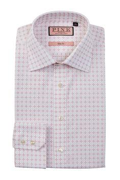 Belcher Long Sleeve Slim Fit Grid Pattern Dress Shirt