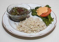 """Dinner with Dilip: Black Beluga Lentil Dhal, served with """"Cheeze""""-topped Broccolini and Brown Rice (Almost No Added Fat)"""