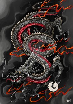30 legendary Chinese dragons illustrations and paintings - Japanese Dragon . - 30 legendary Chinese dragon illustrations and paintings – Japanese Dragon Speed ​​Painting by - Dragon Japanese Tattoo, Japanese Dragon Tattoos, Japanese Tattoo Art, Japanese Tattoo Designs, Dragon Tattoo Oriental, Black Dragon Tattoo, Asian Dragon Tattoo, Bild Tattoos, Body Art Tattoos